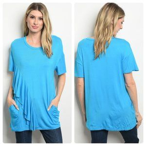 Cerulean Blue Ruffled Blouse with Pockets▪︎S